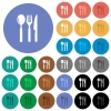 Restaurant round flat multi colored icons - Restaurant multi colored flat icons on round backgrounds. Included white, light and dark icon variations for hover and active status effects, and bonus shades on black backgounds.