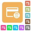 Delete credit card rounded square flat icons - Delete credit card flat icons on rounded square vivid color backgrounds.