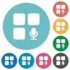 Component recording flat round icons - Component recording flat white icons on round color backgrounds