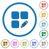 Edit component icons with shadows and outlines - Edit component flat color vector icons with shadows in round outlines on white background