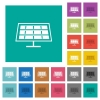 Solar panel multi colored flat icons on plain square backgrounds. Included white and darker icon variations for hover or active effects. - Solar panel square flat multi colored icons