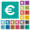Euro sign square flat multi colored icons - Euro sign multi colored flat icons on plain square backgrounds. Included white and darker icon variations for hover or active effects.