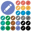 Pencil with rubber round flat multi colored icons - Pencil with rubber multi colored flat icons on round backgrounds. Included white, light and dark icon variations for hover and active status effects, and bonus shades on black backgounds.