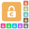 Locked euros rounded square flat icons - Locked euros flat icons on rounded square vivid color backgrounds.