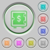 Dollar strong box push buttons - Dollar strong box color icons on sunk push buttons