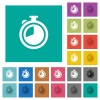 Timer square flat multi colored icons - Timer multi colored flat icons on plain square backgrounds. Included white and darker icon variations for hover or active effects.
