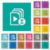 Preparing playlist square flat multi colored icons - Preparing playlist multi colored flat icons on plain square backgrounds. Included white and darker icon variations for hover or active effects.