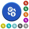 Ruble Yen money exchange beveled buttons - Ruble Yen money exchange round color beveled buttons with smooth surfaces and flat white icons