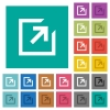 Export with inner arrow multi colored flat icons on plain square backgrounds. Included white and darker icon variations for hover or active effects. - Export with inner arrow square flat multi colored icons