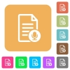 Voice document rounded square flat icons - Voice document flat icons on rounded square vivid color backgrounds.