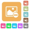 Remove image rounded square flat icons - Remove image flat icons on rounded square vivid color backgrounds.