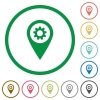 GPS map location settings flat icons with outlines - GPS map location settings flat color icons in round outlines on white background