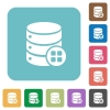 Database modules rounded square flat icons - Database modules white flat icons on color rounded square backgrounds