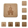 Curch wooden buttons - Curch on rounded square carved wooden button styles