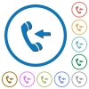 Incoming phone call icons with shadows and outlines - Incoming phone call flat color vector icons with shadows in round outlines on white background