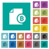 Bitcoin report multi colored flat icons on plain square backgrounds. Included white and darker icon variations for hover or active effects. - Bitcoin report square flat multi colored icons