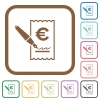 Signing Euro cheque simple icons - Signing Euro cheque simple icons in color rounded square frames on white background