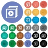 Play files round flat multi colored icons - Play files multi colored flat icons on round backgrounds. Included white, light and dark icon variations for hover and active status effects, and bonus shades on black backgounds.