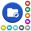 Tagging directory beveled buttons - Tagging directory round color beveled buttons with smooth surfaces and flat white icons