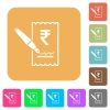 Signing Rupee cheque rounded square flat icons - Signing Rupee cheque flat icons on rounded square vivid color backgrounds.