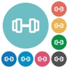 Barbell flat round icons - Barbell flat white icons on round color backgrounds