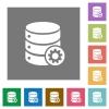 Database settings square flat icons - Database settings flat icons on simple color square backgrounds