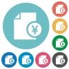 Yen financial report flat round icons - Yen financial report flat white icons on round color backgrounds