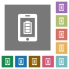 Mobile charging square flat icons - Mobile charging flat icons on simple color square backgrounds