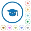 Graduate cap icons with shadows and outlines - Graduate cap flat color vector icons with shadows in round outlines on white background
