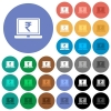 Laptop with Rupee sign round flat multi colored icons - Laptop with Rupee sign multi colored flat icons on round backgrounds. Included white, light and dark icon variations for hover and active status effects, and bonus shades on black backgounds.