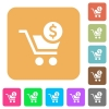 Checkout with Dollar cart rounded square flat icons - Checkout with Dollar cart flat icons on rounded square vivid color backgrounds.
