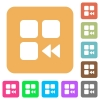Component fast backward rounded square flat icons - Component fast backward flat icons on rounded square vivid color backgrounds.