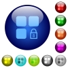 Lock component color glass buttons - Lock component icons on round color glass buttons