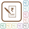 Signing Rupee cheque simple icons - Signing Rupee cheque simple icons in color rounded square frames on white background