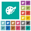 Paint kit square flat multi colored icons - Paint kit multi colored flat icons on plain square backgrounds. Included white and darker icon variations for hover or active effects.