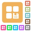 Save component rounded square flat icons - Save component flat icons on rounded square vivid color backgrounds.