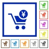Checkout with Yen cart flat framed icons - Checkout with Yen cart flat color icons in square frames on white background