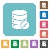 Shrink database rounded square flat icons - Shrink database white flat icons on color rounded square backgrounds