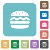 Single hamburger rounded square flat icons - Single hamburger white flat icons on color rounded square backgrounds