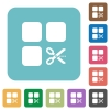 Cut component rounded square flat icons - Cut component white flat icons on color rounded square backgrounds