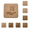 Gifting wooden buttons - Gifting on rounded square carved wooden button styles