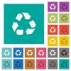 Recycling square flat multi colored icons - Recycling multi colored flat icons on plain square backgrounds. Included white and darker icon variations for hover or active effects.