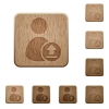 Upload user account wooden buttons - Upload user account on rounded square carved wooden button styles