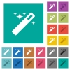Magic wand square flat multi colored icons - Magic wand multi colored flat icons on plain square backgrounds. Included white and darker icon variations for hover or active effects.