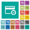 Safe credit card transaction square flat multi colored icons - Safe credit card transaction multi colored flat icons on plain square backgrounds. Included white and darker icon variations for hover or active effects.