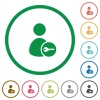 Secure user account flat icons with outlines - Secure user account flat color icons in round outlines on white background