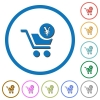 Checkout with Yen cart icons with shadows and outlines - Checkout with Yen cart flat color vector icons with shadows in round outlines on white background