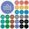 Open sign multi colored flat icons on round backgrounds. Included white, light and dark icon variations for hover and active status effects, and bonus shades on black backgounds. - Open sign round flat multi colored icons