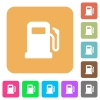 Gas station rounded square flat icons - Gas station flat icons on rounded square vivid color backgrounds.