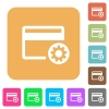 Credit card settings rounded square flat icons - Credit card settings flat icons on rounded square vivid color backgrounds.